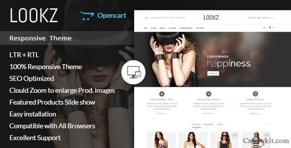 Opencart英文模板Lookz主题Opencart1.5x,2.x响应式模板外贸商城B2C