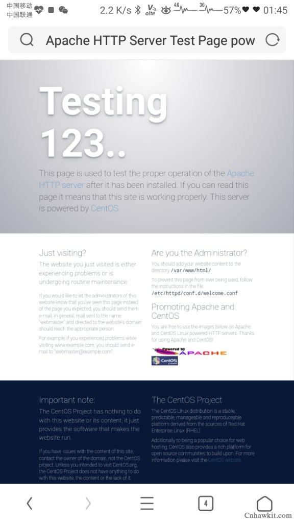网站打开出现testing123怎么解决